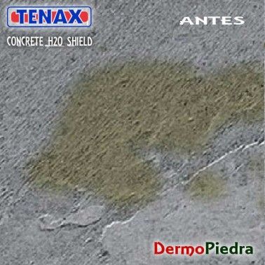 Superficie de cemento NO TRATADA con Concrete H2O Shield.