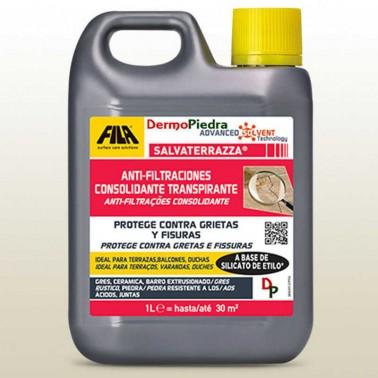 Salvaterrazza protector anti-filtraciones consolidante transpirable. Garrafa de 1 litro.