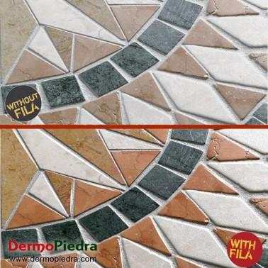 Demostración Fila Wet en mosaico de piedra natural.