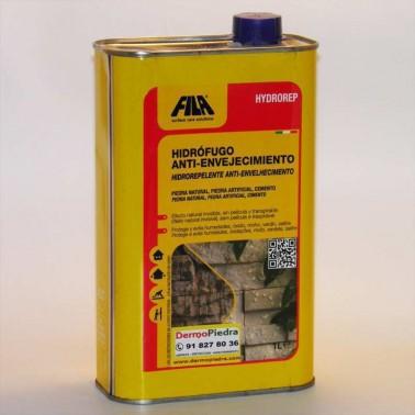 Hydrorep, protector hidrófugo anti-envejecimiento para piedra y cemento. base disolvente, lata de 1 litro.