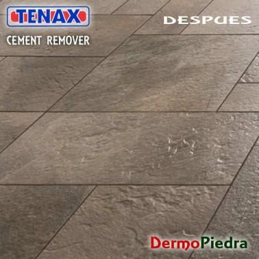 Tenax Cement Remover, Limpiador desincrustante ácido DESPUES de aplicar.